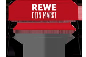 Bedruckbare Werbebank mit Rewe Logo