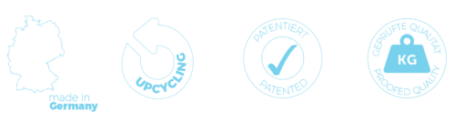 Symbole Made in Germany und Upcycling und Patent und Qualität