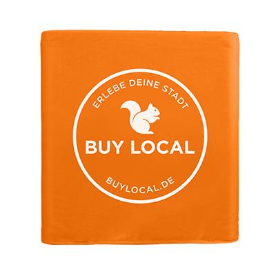 faltbarer bedruckter Sitzwürfel in orange von der Marke Buy Local