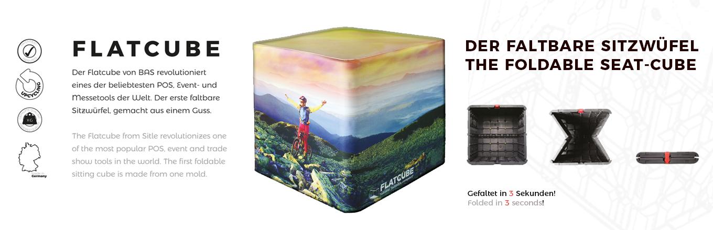 faltbarer und bedruckbarer Sitzwürfel-Flatcube-foldable-cube-seat-recycled-bedruckbar-Events-POS-Outdoor-Messe