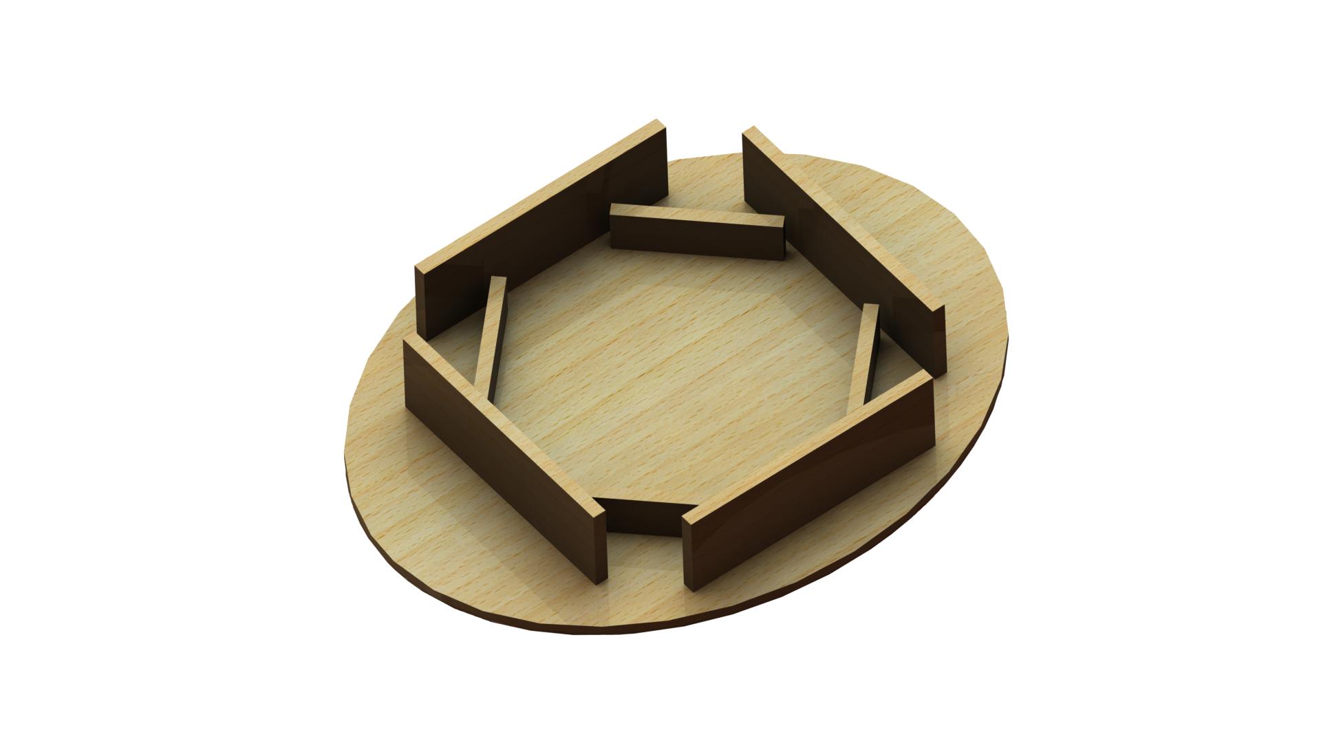 Tischplatte aus Holz für Sitzwürfel