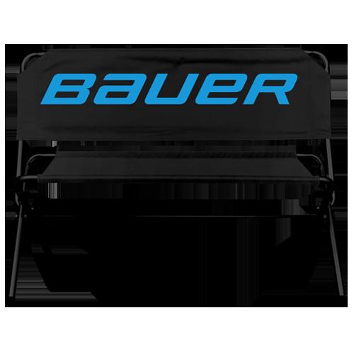 Schwarze Werbebank mit Bauer Logo