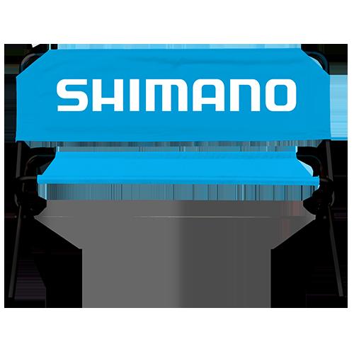 blaue Werbebank mit Shimano Logo