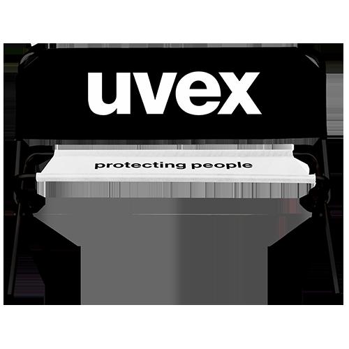 Schwarze Werbebank mit Uvex Logo
