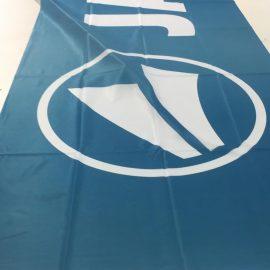 Beachflag blau bedruckt Logo