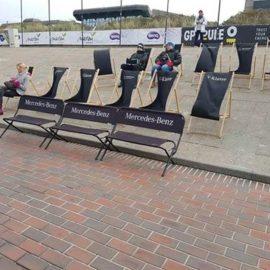 Bedruckte Sitzbank und Sitzwürfel