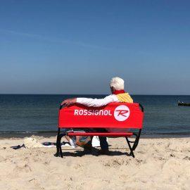 Logobank bedruckbar am Strand Beach Werbebank