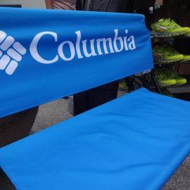 Logobank blau bedrucken lassen print