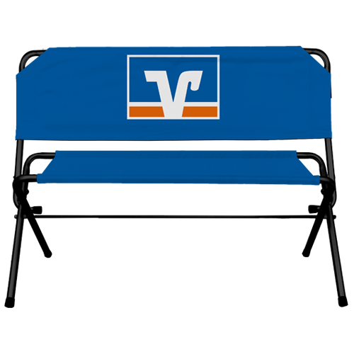 blaue Werbebank mit Volksbank Logo