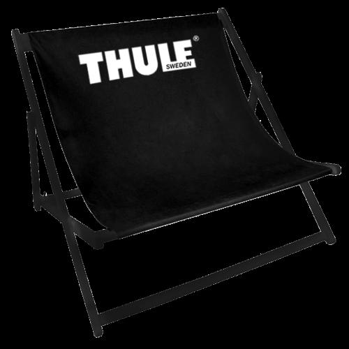 Doppelliegestuhl in schwarz mit Thule-Logo