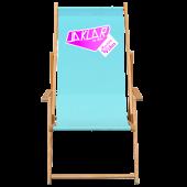 BAS Liegestuhl -  der klappbare Strandstuhl aus Holz mit Werbung