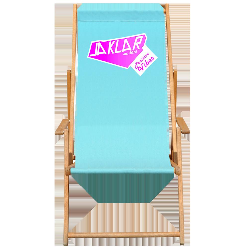 Vorschaubild für Seite Liegestuhl bedrucken. Sonnenstuhl Holz mit Jaklar Logo.