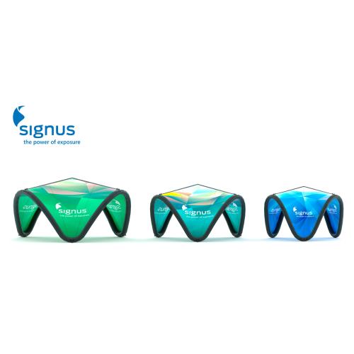 Bedruckbare Eventpavillons mit Signus-Logo