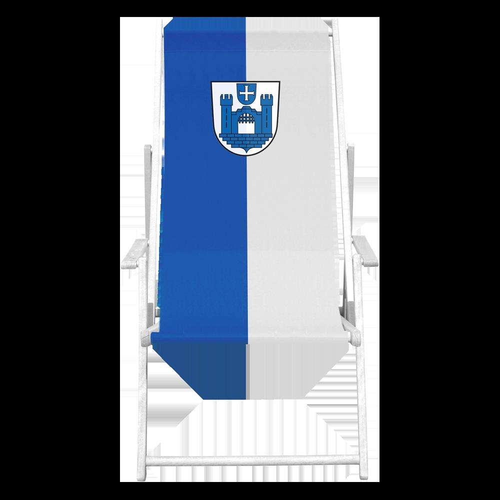Liegestuhl in Blau und weiß