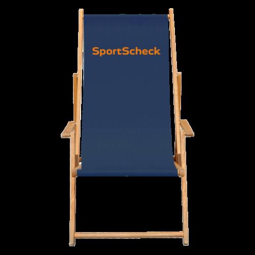 Liegestuhl in Blau mit SportScheck Logo