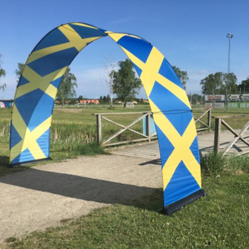 Bannerbow-bedruckter Faltbogen-Events und POS-Bogendisplay-Torbogen-popup-Textilbogen-Produktpraesentation-KFZ-Event-POS-Messe-Promotion-mobil
