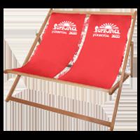 Roter Doppelliegestuhl bedruckbar