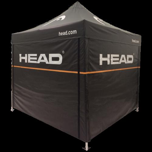 Schwarzes Faltzelt mit Head Logo und orangem Strich