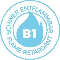 """B1 kennzeichnet """"schwer entflammbare"""" Textilien nach geltender Brandschutznorm DIN 4102-1"""