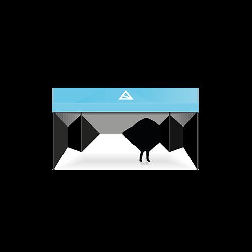 Logotent in blau mit BAS-Logo
