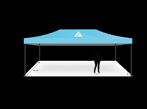 Blaues Eventzelt mit Bas-Logo