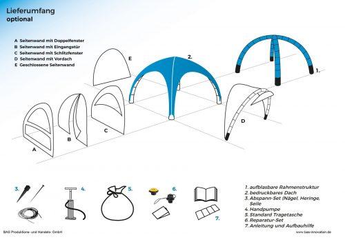 Lieferumfang aufblasbares Zelt