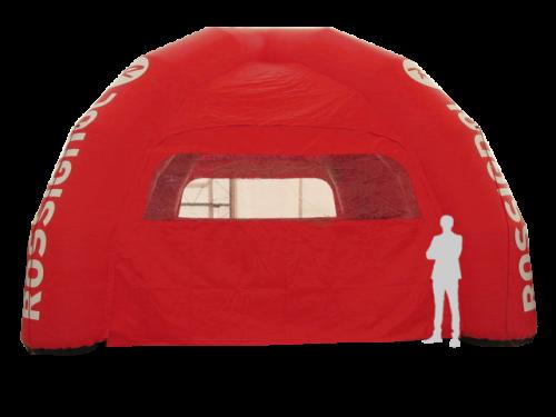 rotes aufblasbares Eventzelt mit Rossi Logo