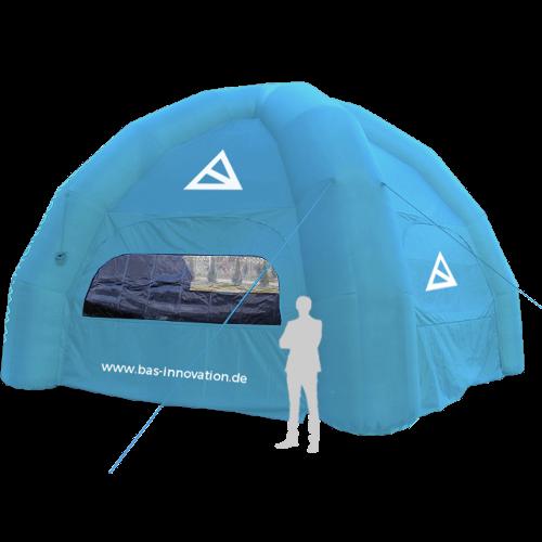 blaues aufblasbares Zelt
