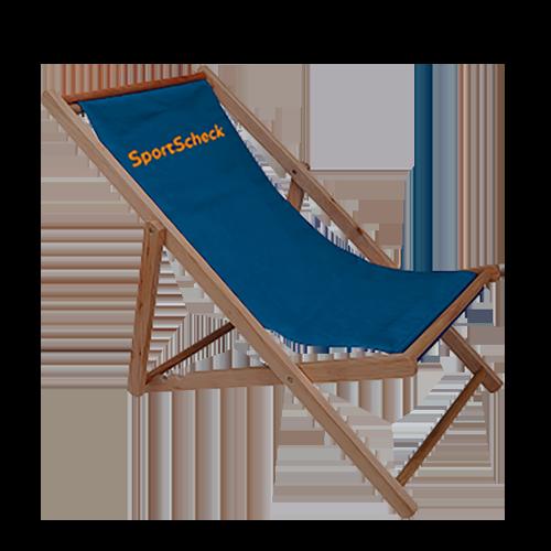 Liegestuhl ohne Armlehne in blau mit Logo