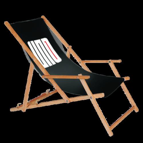 Bedruckter Liegestuhl in schwarz