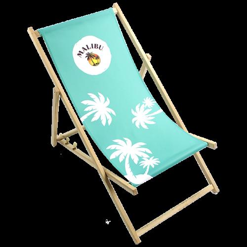 Türkis-weißer Liegestuhl
