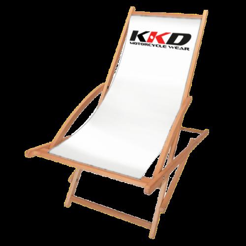 Schaukelliegestuhl in weiß mit Logo