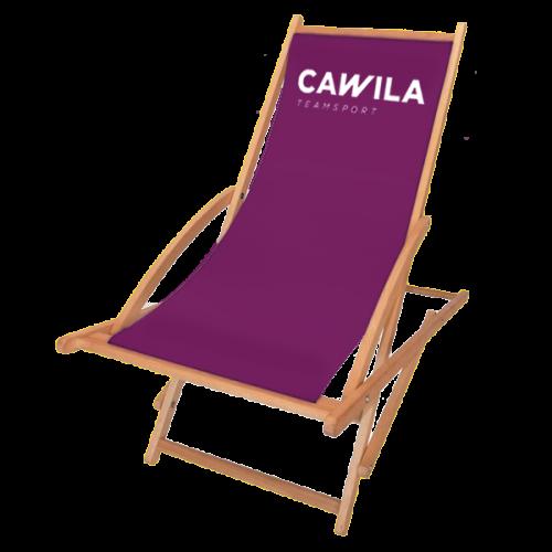 Schaukelliegestuhl in lila mit Logo