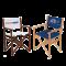 Faltbarer Stuhl aus Holz mit KKD Logo in weiß