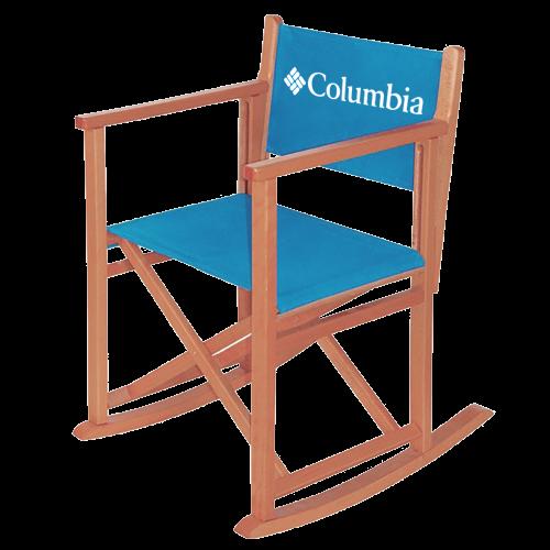 Regiestuhl bedrucken - Variante blauer Schaukelstuhl aus Holz mit Columbia Logo