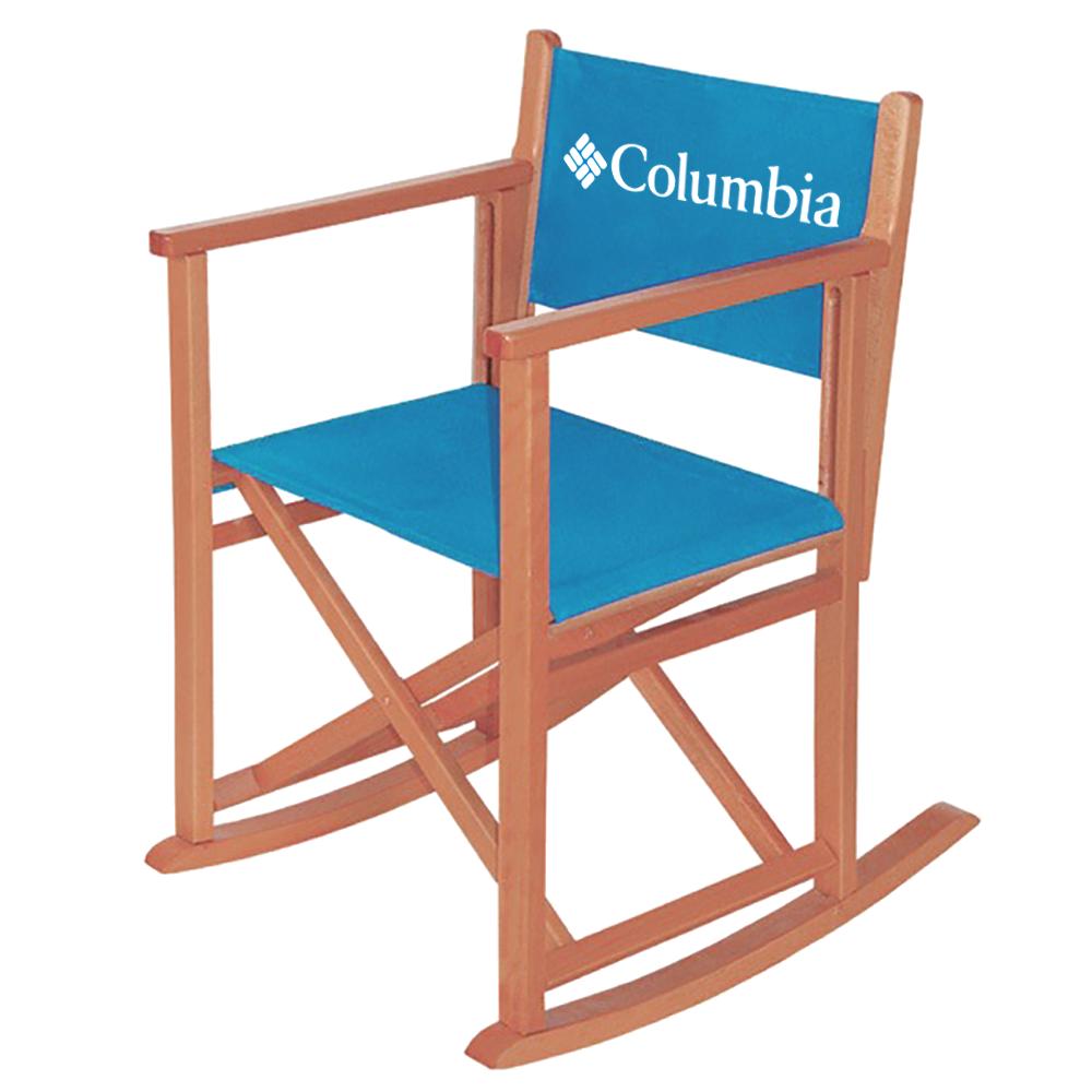 blauer Schaukelstuhl aus Holz mit Columbia Logo