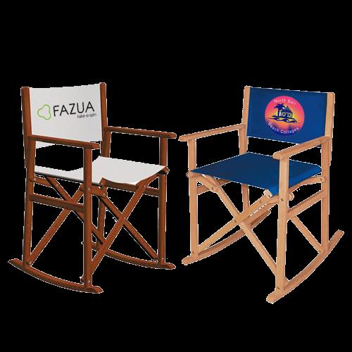 Schaukelstuhl aus Holz mit blauem Stoff und Columbia Logo