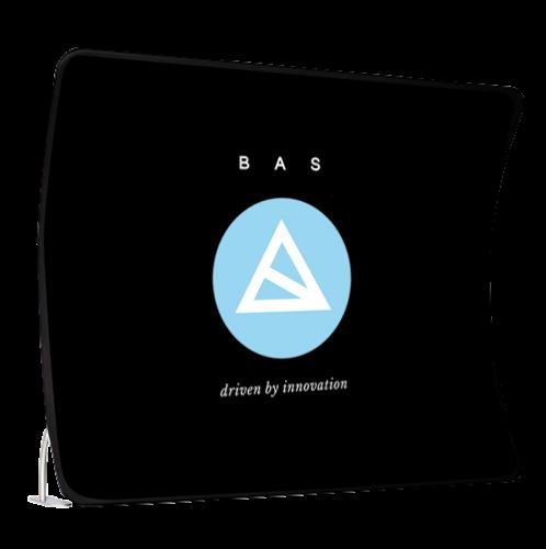 Zipper wall, gebogen, schwarz mit blau weißem Logo von BAS