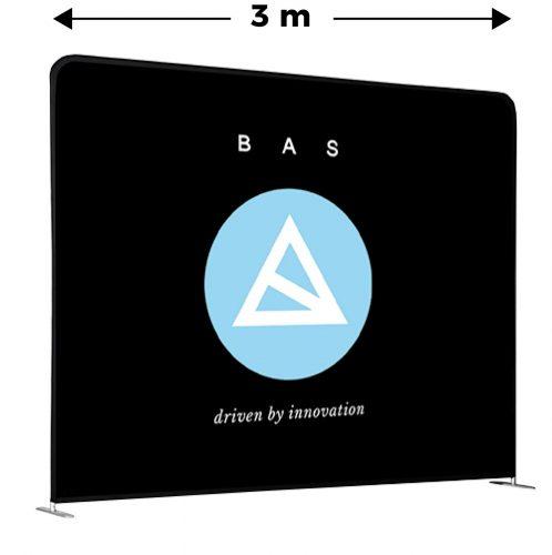 Zipper Wall mit blau weißem BAS-Logo