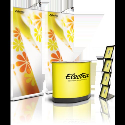 gelbe Werbetheken mit Electra Logo