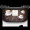 Werbetheke mit Kaffeetasse und Kaffeebohnen