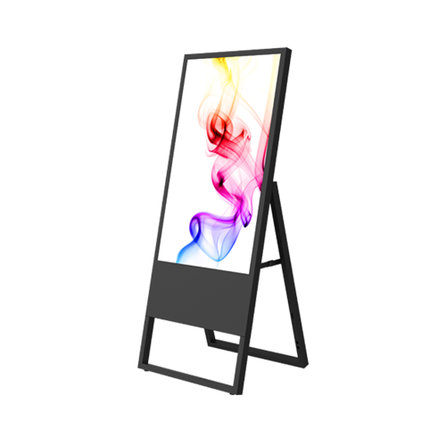 Schwarzer digitaler Kundenstopper mit bunten Mustern auf dem Display