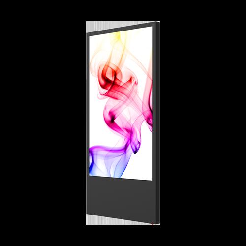 Schwarzer digitaler Kundenstopper mit bunten Mustern auf dem Display Gesamtansicht