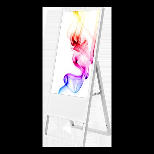 Weißer digitaler Kundenstopper mit bunten Mustern auf dem Display