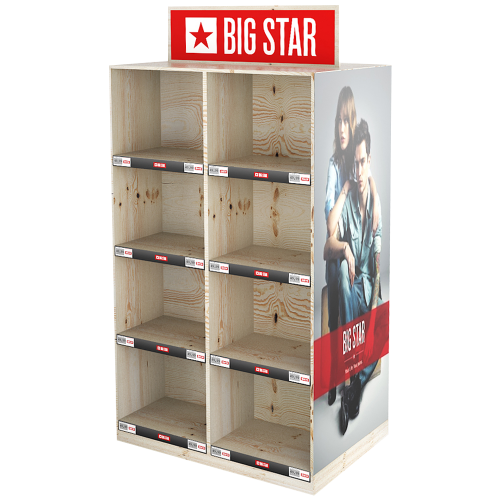 Holzdisplay Aufsteller mit Big Star Logo