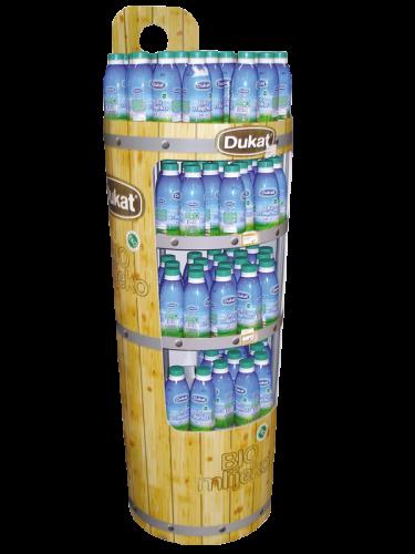 Gelber Getränkeständer mit blauen Flaschen