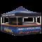 blaues Sechseck Faltzelt mit Cafe Prima Logo