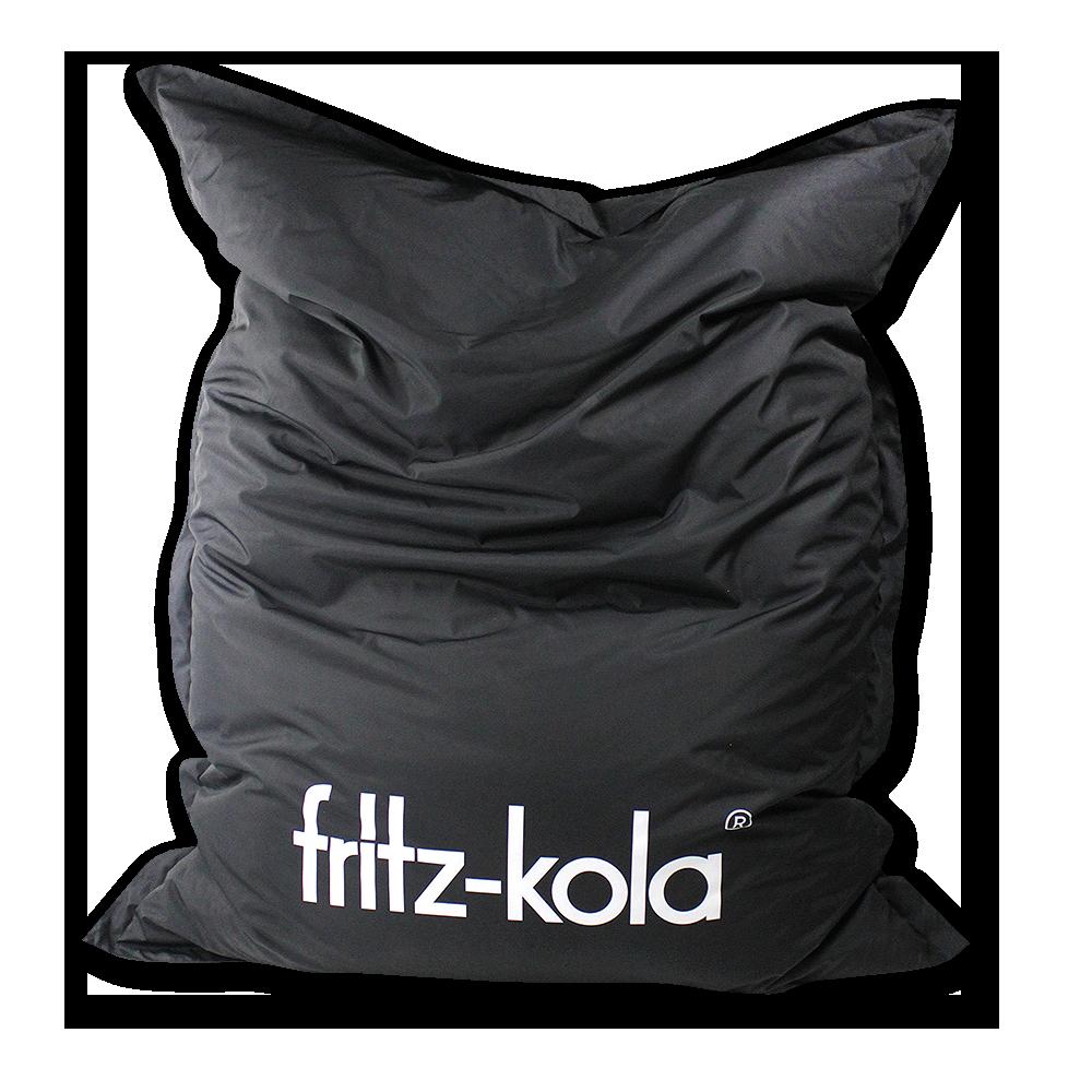 Schwarzer Sitzsack mit fritz-kola Logo