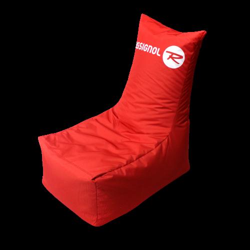 Roter Sitzsack mit Rossignol Logo