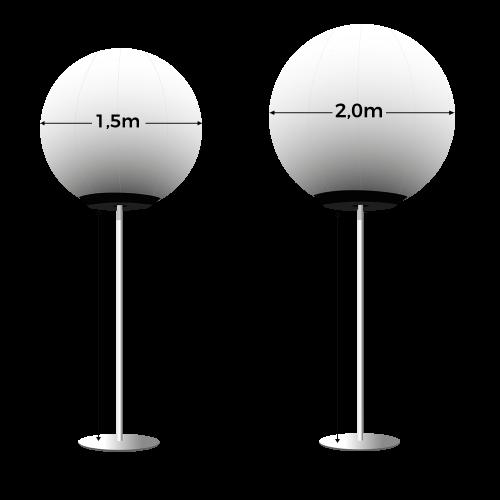 Abmessungen weißer Glowballoons